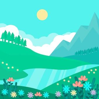 Paesaggio naturale della primavera con il fiume e le montagne alla luce del giorno