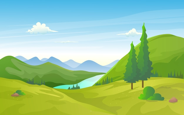 Paesaggio naturale valle verde con fila fiume e montagna.