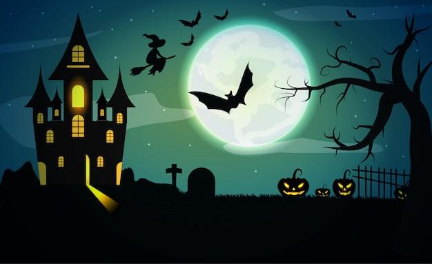 Paesaggio nebbioso con pipistrelli, luna grande, zucche, alberi e lo sfondo del castello scuro