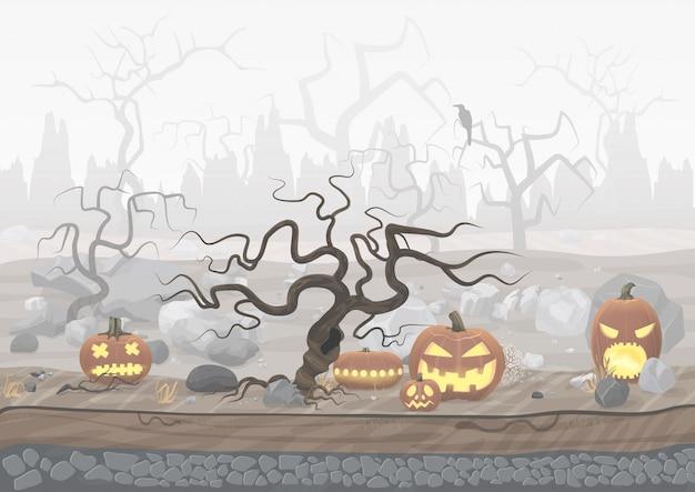 Paesaggio nebbioso di halloween di orrore spaventoso