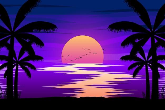 Paesaggio notturno colorato con mare e palme sagome illustrazione