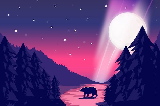 Paesaggio notturno con l'illustrazione del cielo stellato