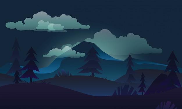 Paesaggio notturno con la montagna