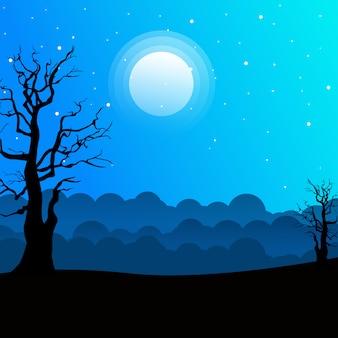 Paesaggio notturno con sagome di alberi e bel cielo notturno con stelle e la luna.