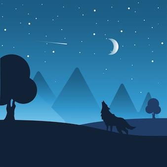 Paesaggio notturno con sagome di colline, lupo, foresta e bel cielo notturno con stelle e la luna.