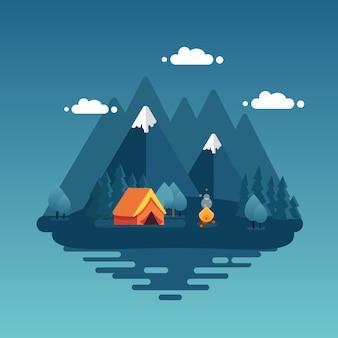 Paesaggio notturno con tenda, falò, montagne, foresta e acqua