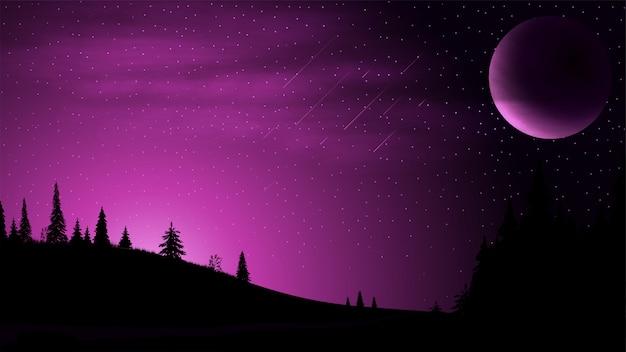 Paesaggio notturno con un grande pianeta nel cielo, cielo stellato, nuvole e campi con conifere