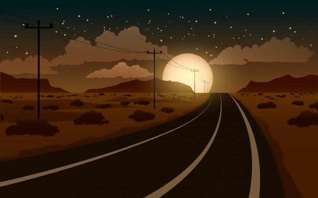 Paesaggio notturno del deserto con strada e luna piena