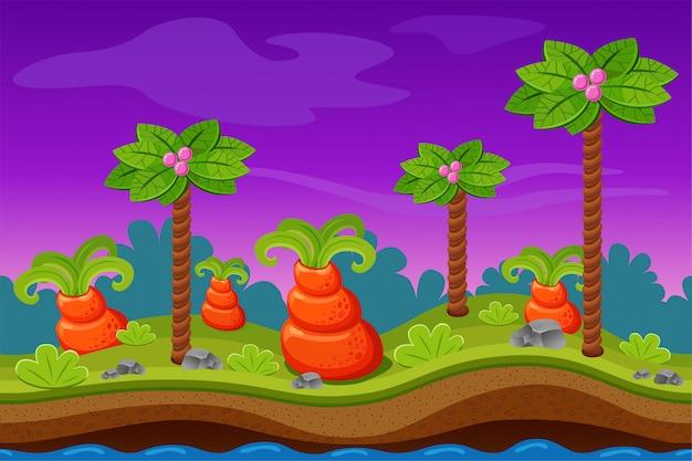 Paesaggio notturno del gioco per computer.