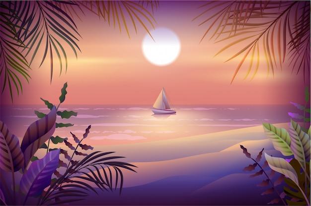 Paesaggio notturno dell'isola tropicale. palme, spiaggia, mare e barca a vela