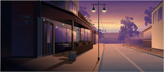 Paesaggio notturno della città vecchia strada