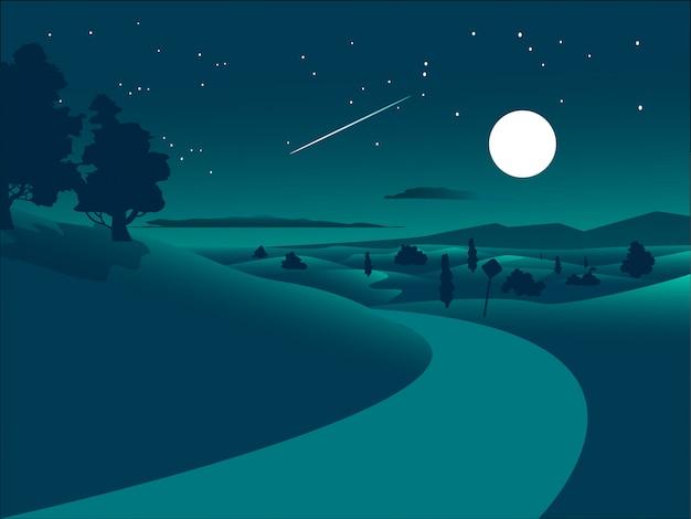 Paesaggio notturno design piatto con strada nel deserto e cielo stellato