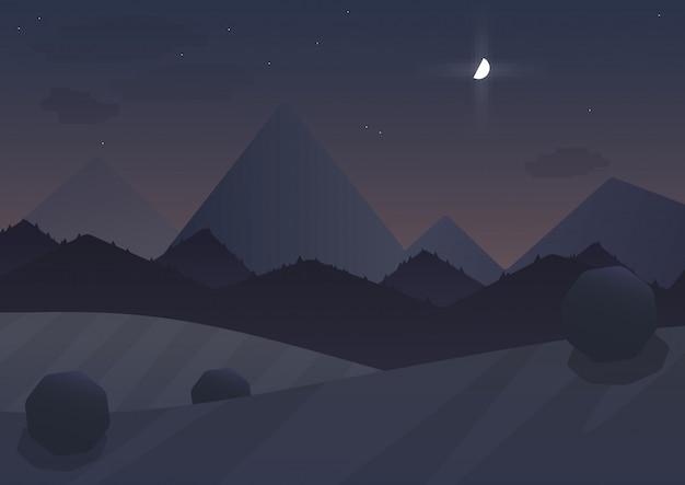 Paesaggio notturno di montagna dei cartoni animati