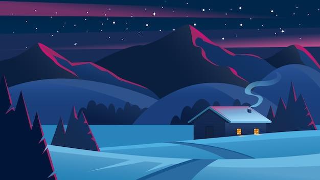 Paesaggio notturno di natale con montagne e una capanna solitaria. paesaggio della vigilia di natale. accogliente casa nella foresta invernale. paesaggio invernale.