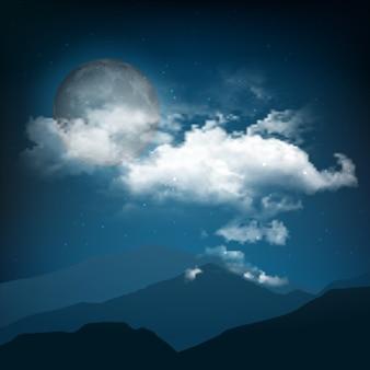 Paesaggio notturno di stile di halloween con la luna