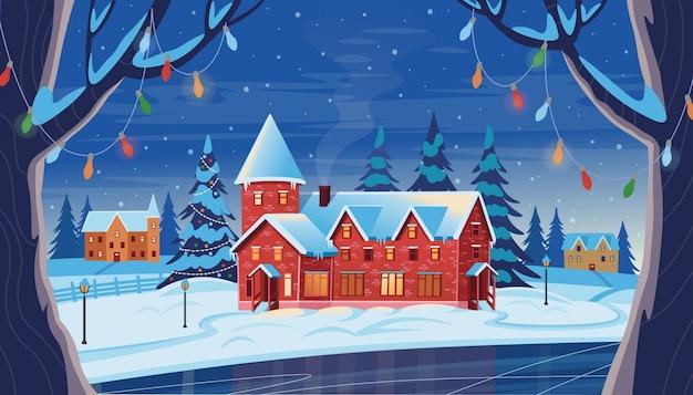 Paesaggio notturno invernale con case, albero di natale e lago ghiacciato. illustrazione di disegno vettoriale in stile cartone animato piatto. biglietto natalizio.