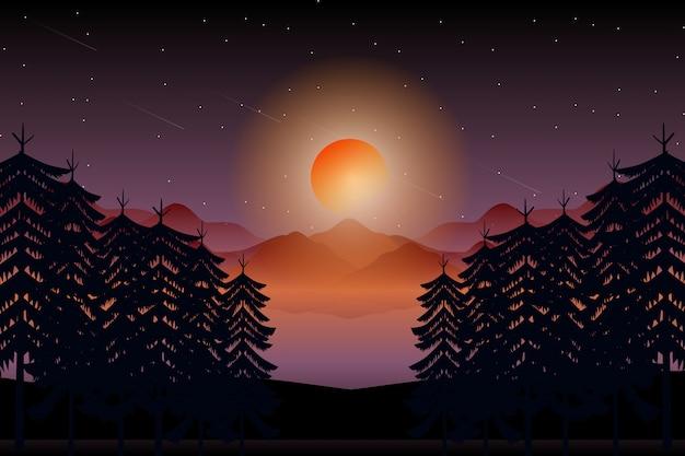 Paesaggio notturno nella giungla con la luna piena e il cielo notturno stellato