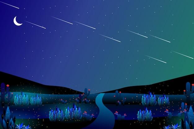 Paesaggio notturno stellato di viaggio stradale