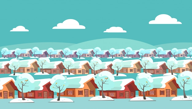 Paesaggio panoramico di un villaggio suburbano a un piano. le stesse case si trovano su tre file.