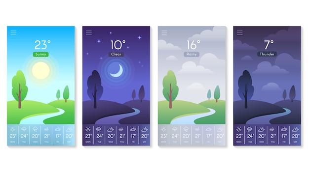 Paesaggio per set di app meteo