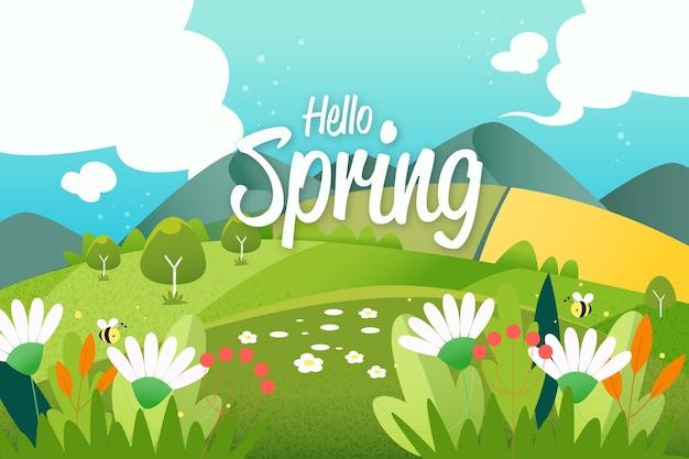 Paesaggio piatto colorato di primavera con scritte