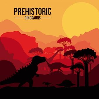 Paesaggio preistorico di dinosauri