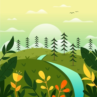 Paesaggio primaverile con alberi e fiume