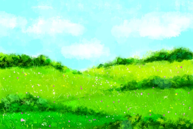 Paesaggio primaverile dell'acquerello con erba e cielo
