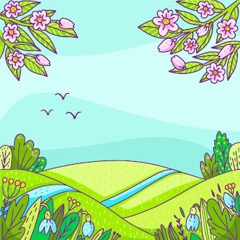 Paesaggio primaverile disegnato a mano