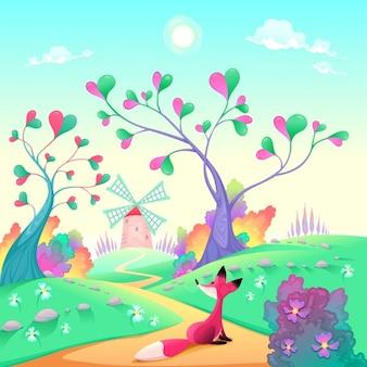 Paesaggio romantico con volpe divertenti del fumetto e illustrazione vettoriale