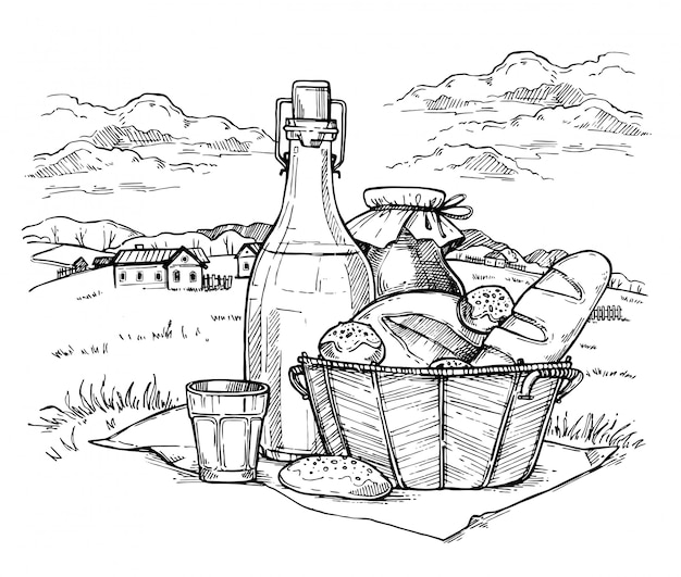 Paesaggio rurale con set di cibo per fattoria
