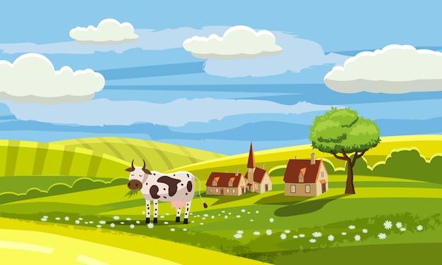 Paesaggio rurale del paese adorabile, mucca che pasce, azienda agricola, fiori, pascolo, stile del fumetto, illustrazione di vettore