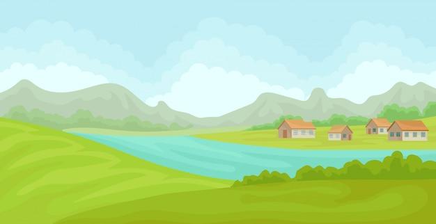 Paesaggio rurale di estate con case e fiume, campo con erba verde, agricoltura e agricoltura illustrazione su uno sfondo bianco