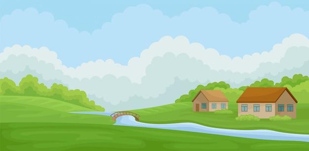 Paesaggio rurale di estate con le case del villaggio e fiume, prato con erba verde, agricoltura e illustrazione di agricoltura su un fondo bianco