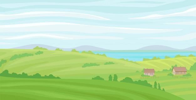 Paesaggio rurale di estate, prato con erba verde e fiume, agricoltura e illustrazione di agricoltura su un fondo bianco