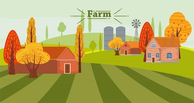 Paesaggio rurale sveglio della campagna di concetto di agricoltura di eco, con gli edifici attigui dell'azienda agricola e della casa, autunno