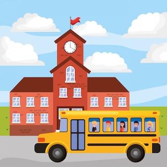 Paesaggio scolastico con autobus