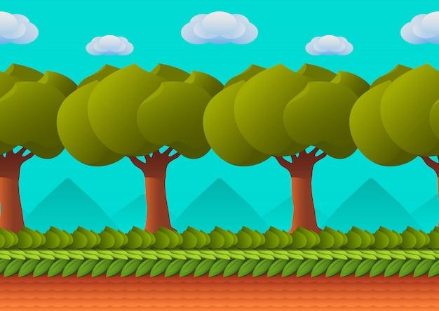 Paesaggio senza soluzione di continuità in stile cartone animato
