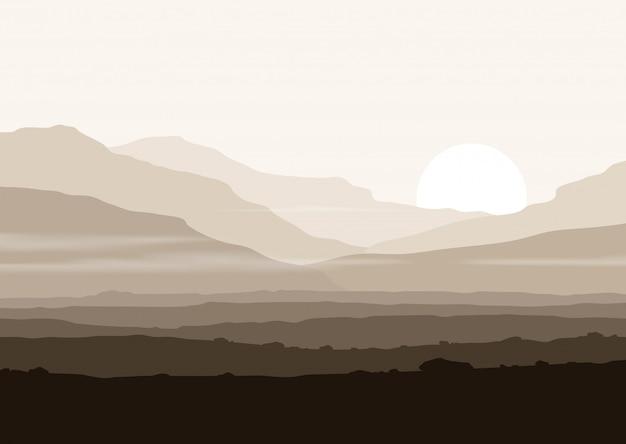 Paesaggio senza vita con enormi montagne sopra il sole.