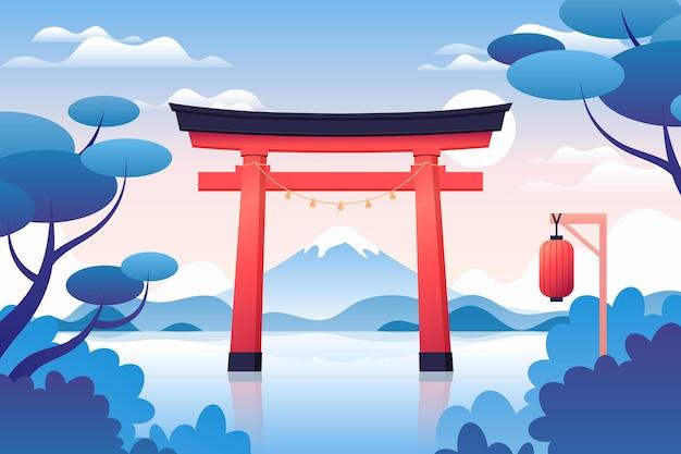 Paesaggio sfumato con cancello torii