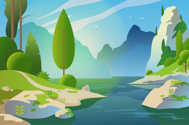 Paesaggio soleggiato. foresta e montagne vicino al lago. illustrazione