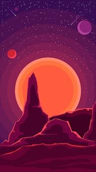 Paesaggio spaziale con tramonto e un cielo stellato nei toni del viola