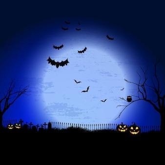 Paesaggio spettrale di halloween con il cimitero e pipistrelli