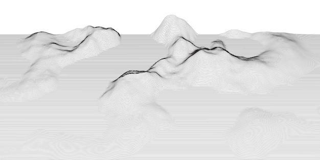Paesaggio techno astratto con wireframe 1504