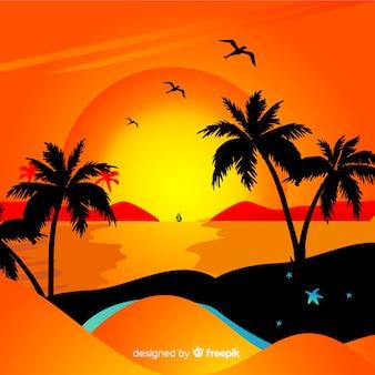 Paesaggio tramonto spiaggia gradiente