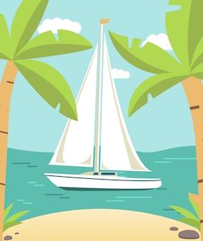 Paesaggio tropicale con yacht a vela nave e spiaggia di sabbia e palme.