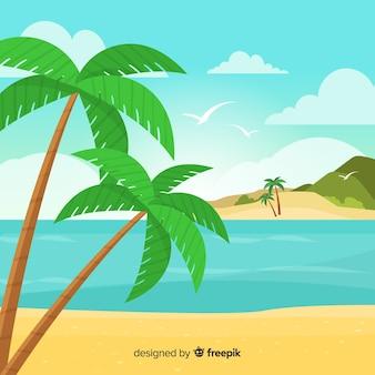 Paesaggio tropicale spiaggia vettoriale