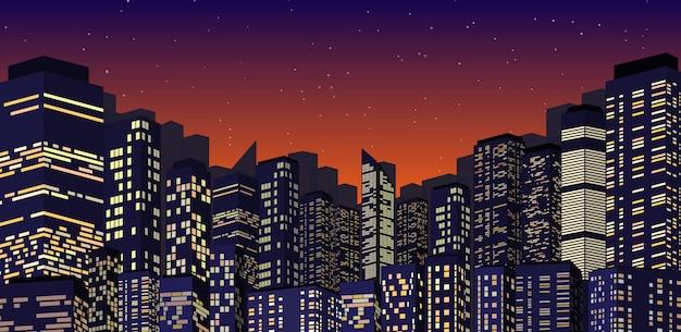 Paesaggio urbano all'illustrazione di notte