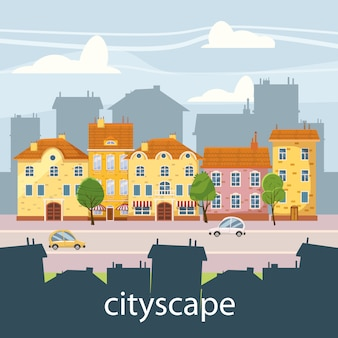 Paesaggio urbano carino, belle case in stile cartone animato