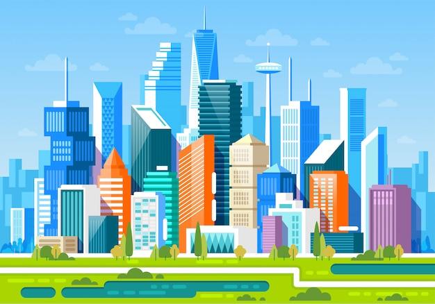 Paesaggio urbano con alti grattacieli e metropolitana
